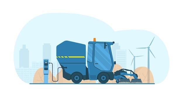 Mini camion spazzatrice stradale aspirante elettrico con spazzole. illustrazione vettoriale.