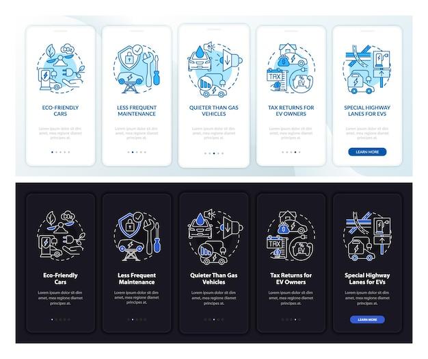 Veicoli elettrici più schermata della pagina dell'app mobile di bordo. ev profitti procedura dettagliata 5 passaggi istruzioni grafiche con concetti. modello vettoriale ui, ux, gui con illustrazioni lineari in modalità giorno e notte