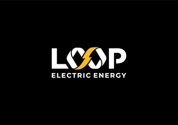 Elettrico con il concetto di infinito, marchio denominativo per l'ispirazione del design del logo elettrico del loop