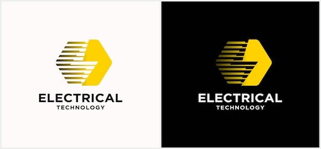 Logo della tecnologia dell'industria elettrica. marchio di forza. con fulmini e sfondo scuro.