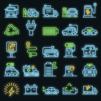 Set di icone di rifornimento elettrico. delineare l'insieme delle icone vettoriali di rifornimento elettrico neoncolor su nero
