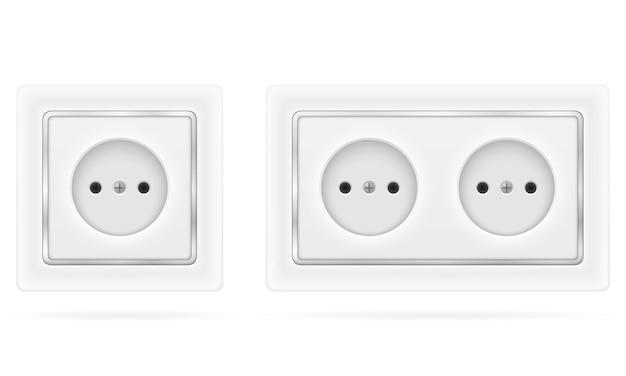 Presa elettrica per cablaggio elettrico interno isolato su bianco Vettore Premium