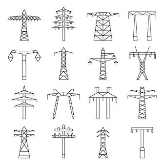Set di icone di torre elettrica. insieme del profilo delle icone elettriche di vettore della torre