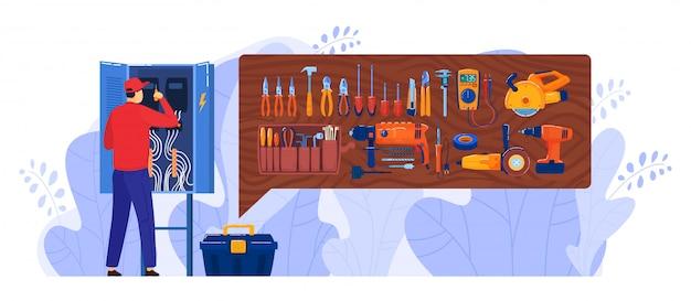 Illustrazione della scatola dell'elettricista, funzionamento piano del carattere del riparatore del fumetto, riparante gabinetto del pannello del quadro elettrico isolato su bianco