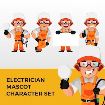 Logo del set di caratteri mascotte elettricista