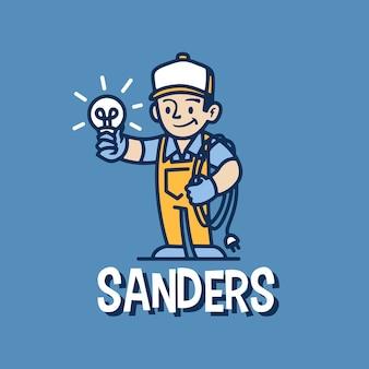 Elettricista retrò mascotte cartoon logo icona illustrazione