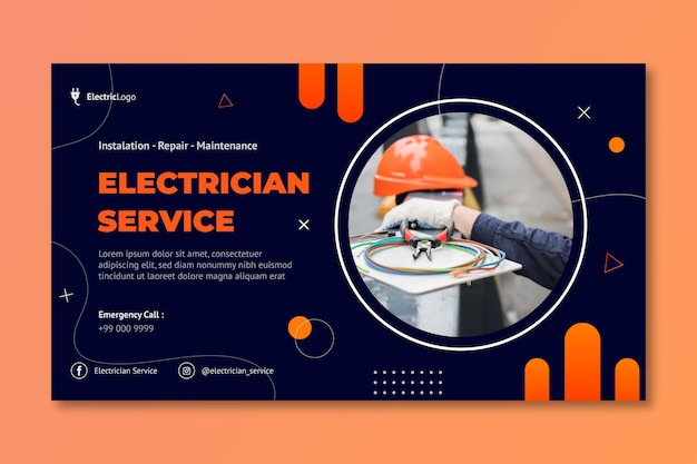 Modello di banner per il servizio di elettricista