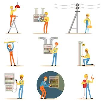 Elettricista in uniforme e cappello duro lavorando con cavi e fili elettrici, risolvendo problemi di elettricità all'interno e all'esterno serie di illustrazioni