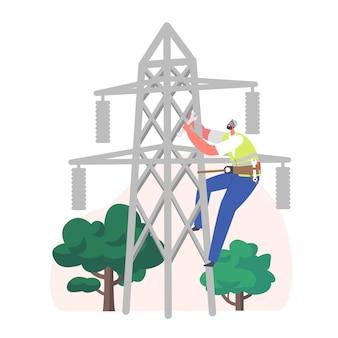 Carattere dell'operaio dell'elettricista che si arrampica sulla linea elettrica per la riparazione. concetto di impianti elettrici con ingegnere riparatore