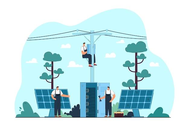 Elettricisti che riparano pannelli elettrici e solari sulle strade. illustrazione piatta