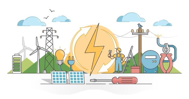 Elettricità come concetto di contorno di alimentazione elettrica di energia eolica e solare