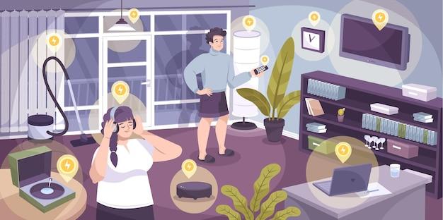 Composizione domestica di elettricità con molti elettrodomestici in casa che funzionano con l'illustrazione di rete