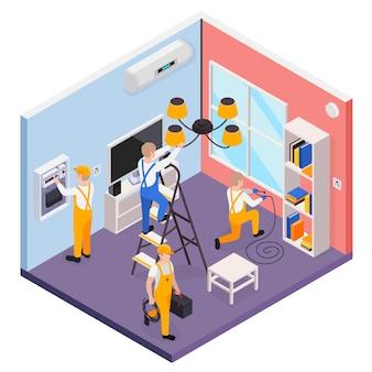 Composizione isometrica di elettricità con elettricisti che controllano e installano apparecchiature elettriche 3d