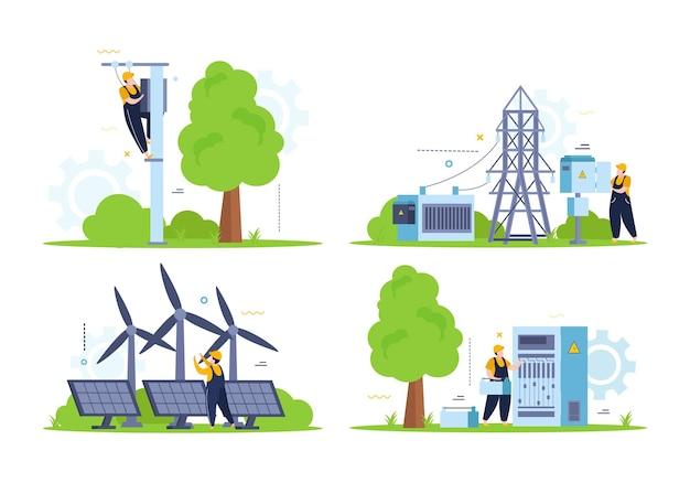 Set di composizioni di elettricità e illuminazione