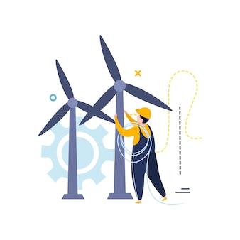 Illustrazione di elettricità e illuminazione in stile piatto con carattere di elettricista che collega i fili alle turbine eoliche