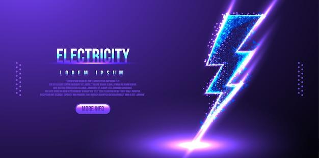 Elettricità low poly wireframe Vettore Premium