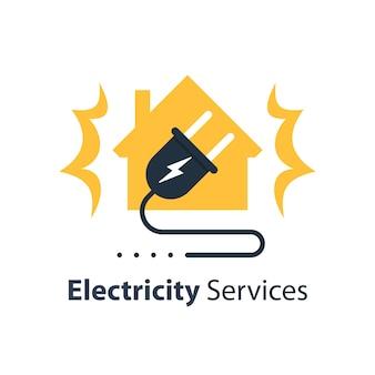Servizi di riparazione e manutenzione di elettricità, casa e spina con filo, sicurezza elettrica, illustrazione design piatto