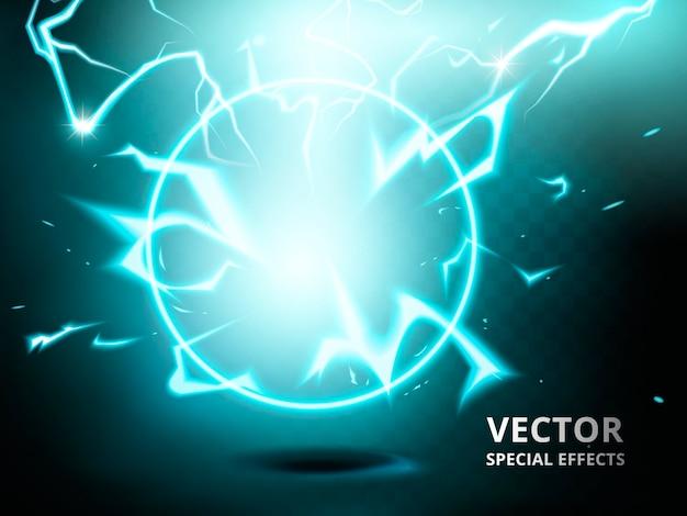 Elemento anello elettrico che può essere utilizzato come effetto speciale, sfondo verde acqua