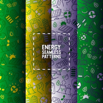 Energia elettrica senza cuciture di energia elettrica delle lampadine del modello dei pannelli solari Vettore Premium
