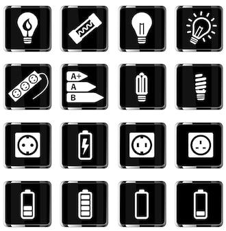 Elettricità semplicemente set di icone vettoriali
