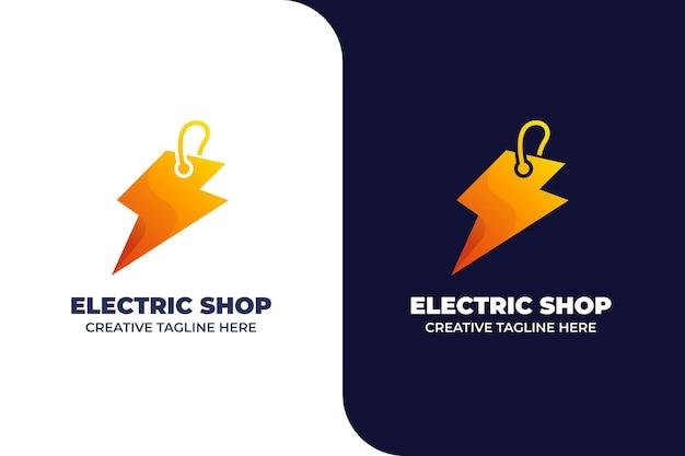 Modello di logo gradiente negozio di elettricità
