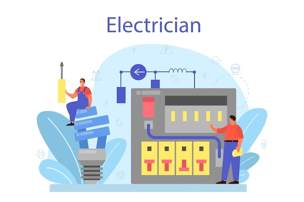L'elettricità funziona il concetto di servizio. operaio professionista nell'elemento elettrico riparazione uniforme.
