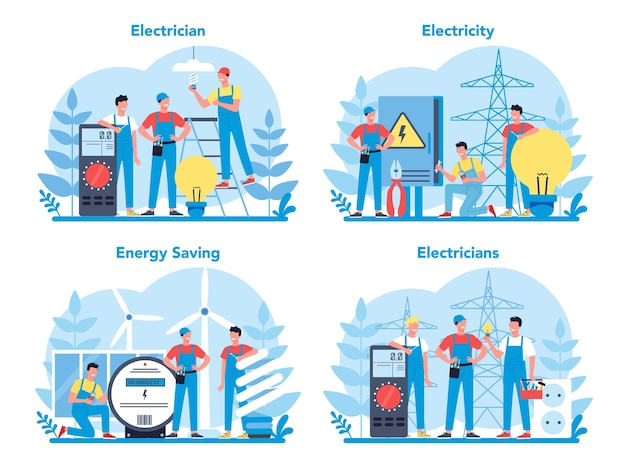 Insieme di concetto di servizio di elettricità funziona. operaio professionista nell'elemento elettrico riparazione uniforme. riparazione tecnica e risparmio energetico.