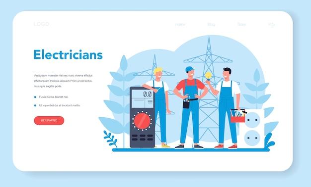 Banner web o pagina di destinazione del servizio di elettricità funziona