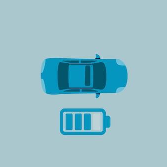 Vista dall'alto dell'auto elettrica. icona del livello di carica.