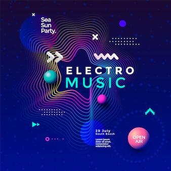 Electro music fest wave poster design gradienti astratti sfondo sonoro con linee ondulate
