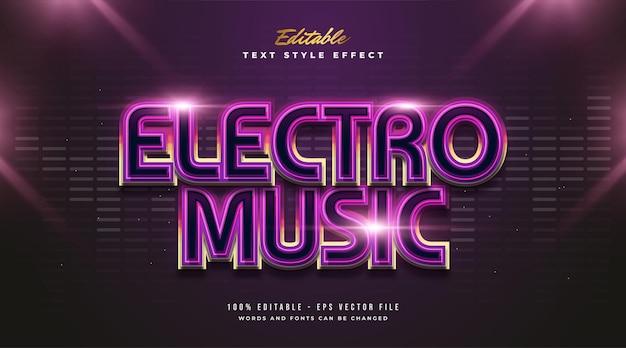 Testo di musica elettronica in gradiente colorato con effetto luminoso e stile futuristico