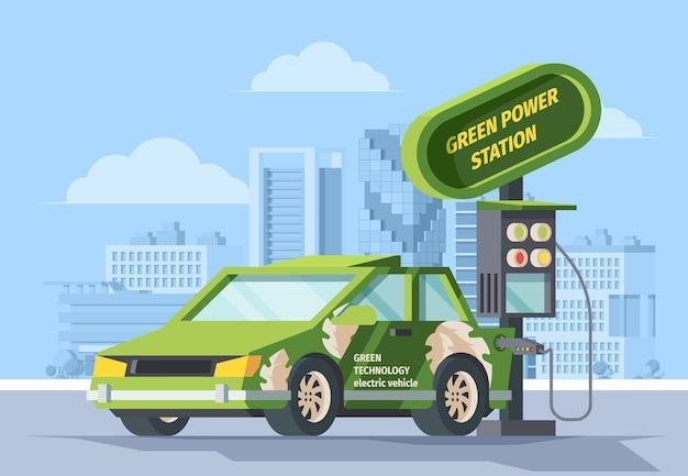 Illustrazione di alimentazione elettrica verde rifornimento di carburante