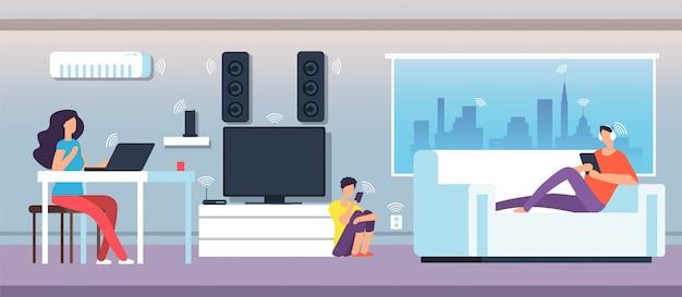 Campo elettromagnetico in casa. le persone sotto emf si muovono da apparecchi e dispositivi.