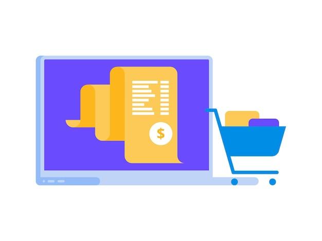 Fattura elettronica, pagamento online del sistema di fatturazione, concetto di rapporto finanziario, icona piatta del laptop
