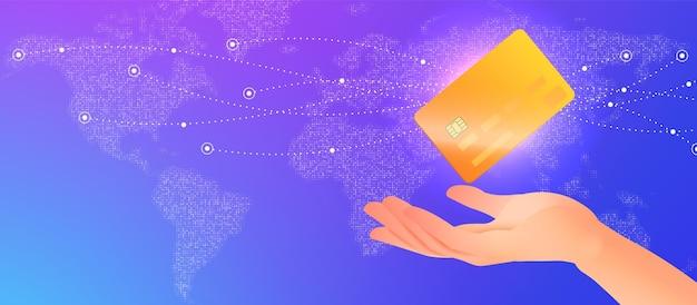 Il banner del concetto di banca elettronica con la mano tiene la carta di credito sullo sfondo della mappa del mondo digitale
