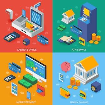 Concetto isometrico di attività bancarie elettroniche Vettore Premium