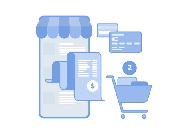 Pagamento elettronico delle bollette concetto piatto di pagamento mobile, acquisti, operazioni bancarie