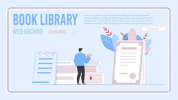 Biblioteca del libro elettronico e landing page dell'archivio