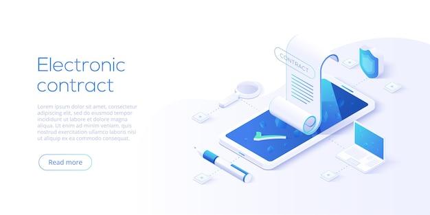 Contratto elettronico o concetto di firma digitale nell'illustrazione isometrica