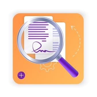 Contratto elettronico o concetto di firma digitale in illustrazione vettoriale