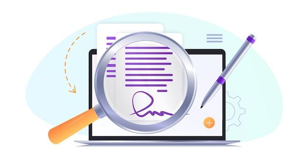 Contratto elettronico o firma digitale firma di un contratto elettronico documento onlineicona piatta