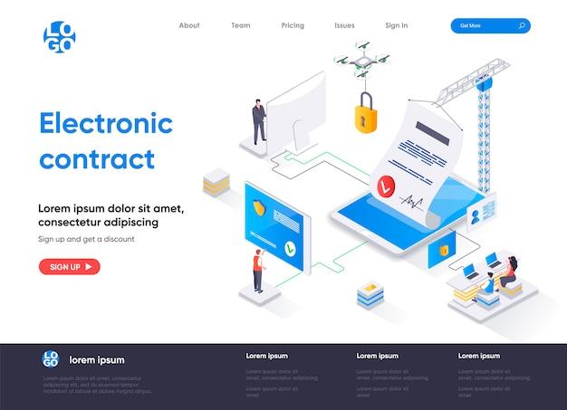 Progettazione isometrica della pagina di destinazione del contratto elettronico Vettore Premium