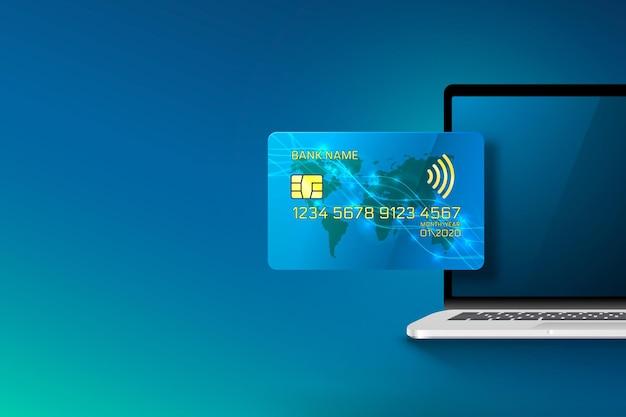 Carta di credito elettronica e computer, tecnologia finanziaria, isolato sull'azzurro.