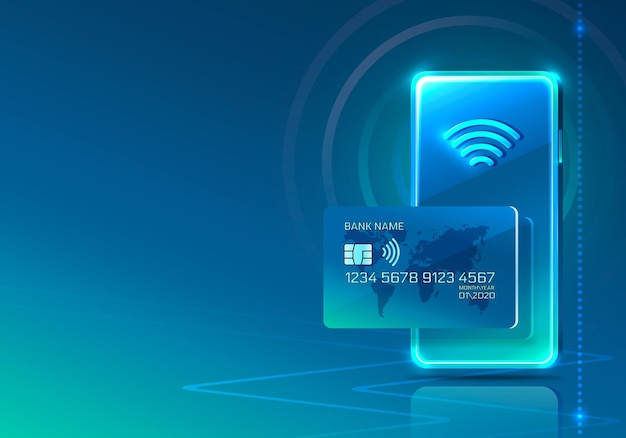 Carta di credito elettronica e icona del telefono, tecnologia finanziaria, sfondo blu.