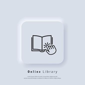 Biblioteca digitale elettronica. concetto di educazione su internet, risorse di e-learning, corsi online a distanza. vettore. icona dell'interfaccia utente. pulsante web dell'interfaccia utente bianca ui ux neumorphic. neumorfismo