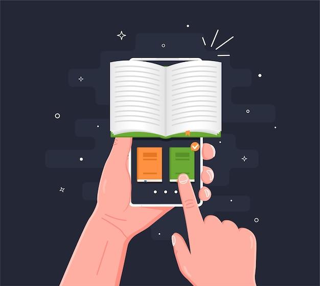 Biblioteca online della biblioteca digitale elettronica sullo schermo del telefono cellulare