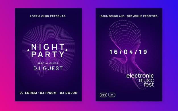 Festa elettronica. volantino discoteca moderna con forma e linea dinamica del gradiente.