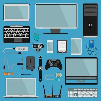 Dispositivi elettronici gadget icone tecnologia pc elettronica dispositivi multimediali.
