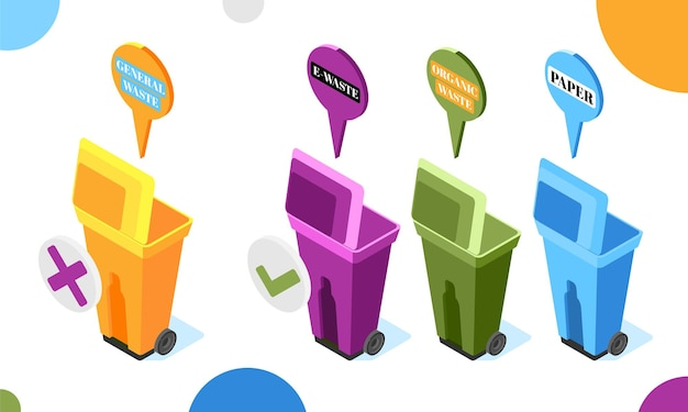 Immondizia elettronica con illustrazione isometrica di bidoni dei rifiuti colorati