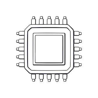 Vista dall'alto del circuito elettronico integrato illustrazione vettoriale di contorno microchip del computer